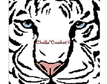 INSTANT DOWNLOAD  Chella Crochet Syberian White Tiger Face Afghan Crochet Pattern Graph Chart .PDF