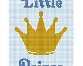 INSTANT DOWNLOAD Chella Crochet Little Prince Crown Boy Afghan Crochet Pattern Graph Chart .PDF