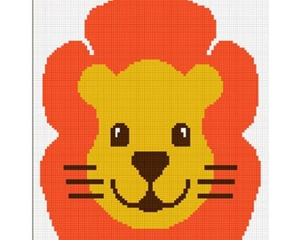 INSTANT DOWNLOAD Baby Safari Lion Full Face Afghan Crochet Pattern Graph