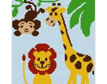 INSTANT DOWNLOAD Chella Crochet Giraffe Monkey Jungle Safari Z00 Afghan Crochet Pattern Graph