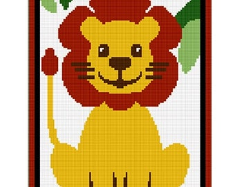 INSTANT DOWNLOAD Safari Baby Lion Sitting in Jungle Crochet Afghan Pattern Graph .PDF