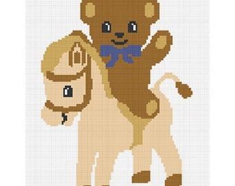 INSTANT DOWNLOAD Chella Crochet Teddy Bear Pony Horse Boy Afghan Crochet Pattern Graph