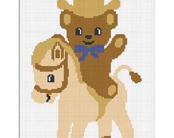 INSTANT DOWNLOAD Chella Crochet  Cowboy Teddy Bear Pony Afghan Crochet Pattern Graph