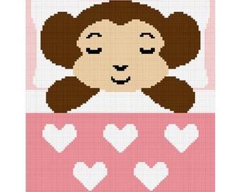 INSTANT DOWNLOAD Chella Crochet Sleeping Baby Girl Monkey Crochet Afghan Pattern Graph