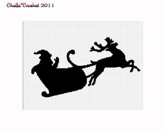 INSTANT DOWNLOAD Chella Crochet Santa Claus Reindeer Silhouette Afghan Crochet Pattern Graph
