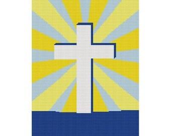 INSTANT DOWNLOAD Chella Crochet  Cross in Sunburst Religious Jesus Easter Afghan Crochet Pattern Graph Chart .PDF