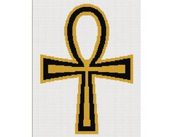 INSTANT DOWNLOAD Chella Crochet  Ankh Cross Jesus Christian Religious Black Gold Afghan Crochet Pattern Graph .PDF