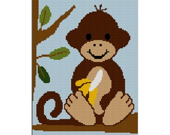 INSTANT DOWNLOAD Baby Monkey in Jungle Tree with Banana Safari Afghan Crochet Pattern Graph 100st