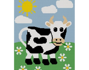 INSTANT DOWNLOAD Chella Crochet Cow in the Meadow Daisies Daisy Crochet Afghan Pattern Graph 150st   Emailed to you