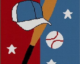 INSTANT DOWNLOAD Chella Crochet Baseball Cap Bat Ball Afghan Crochet knit Cross Stitch Pattern Graph Chart .PDF