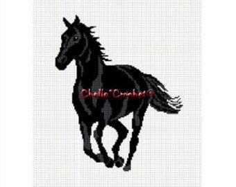 INSTANT DOWNLOAD  Chella Crochet Horse Stallion Mare Black Running Afghan Crochet Pattern Graph Chart .PDF