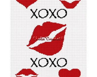 INSTANT DOWNLOAD Chella Crochet Kisses and Hugs X and 0 Heart Afghan Crochet Pattern Graph Chart .PDF