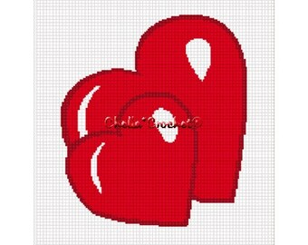 INSTANT DOWNLOAD Chella Crochet Double Hearts Heart Afghan Crochet Pattern Graph Chart .PDF