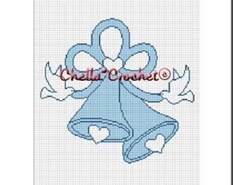 INSTANT DOWNLOAD Chella Crochet Wedding Bells Blue Ribbons Doves Afghan Crochet Pattern Graph Chart .PDF