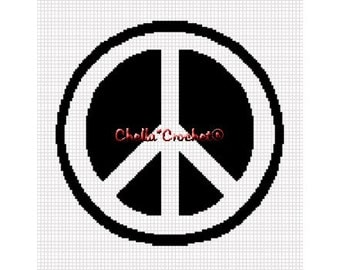 INSTANT DOWNLOAD Chella Crochet Peace Sign Symbol Afghan Crochet Pattern Graph Chart .PDF