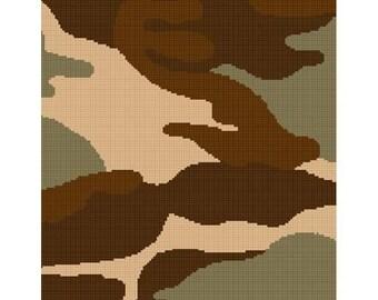 INSTANT DOWNLOAD Chella Crochet Camouflage Camo Tan Afghan Crochet Pattern Graph Chart .PDF