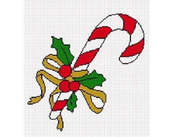 INSTANT DOWNLOAD Chella Crochet Christmas Candy Cane Holly Berries Afghan Crochet Pattern Graph Chart .PDF