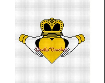 Instant Download Chella Crochet Irish Love Claddagh Afghan Crochet Pattern Graph