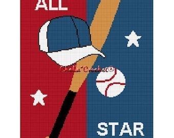Instant Download  Chella Crochet Baseball Bat Ball Hat All Star Afghan Crochet Pattern Graph Chart .PDF