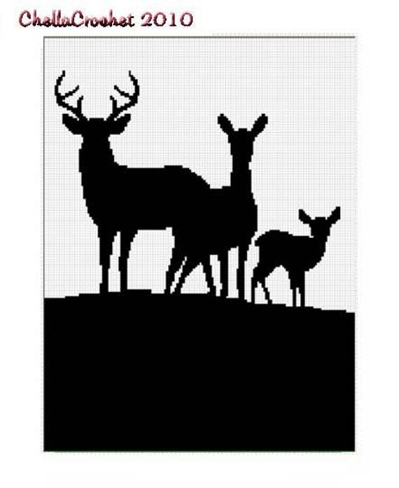 INSTANT DOWNLOAD Chella Crochet Deer Family Silhouette Buck