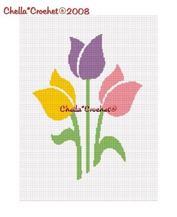 INSTANT DOWNLOAD Chella Crochet Trio of Tulips Spring Colors Afghan Crochet Pattern Graph Chart .PDF