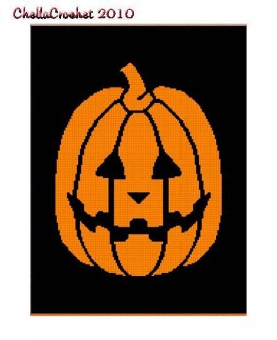 INSTANT DOWNLOAD Chella Crochet Halloween Jack O Lantern Afghan Crochet Pattern Graph