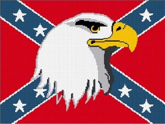 ... Crochet Confederate Flag w Eagle Afghan Crochet Pattern Graph Chart