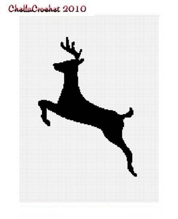 instant download chella crochet running deer silhouette afghan crochet pattern graph emailed pdf