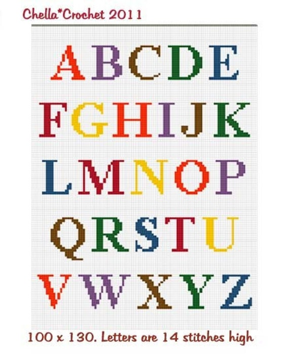 INSTANT DOWNLOAD cross stitch Chella Crochet  Coloful Alphabet for Baby Size Afghan Pattern Graph Chart. .PDF
