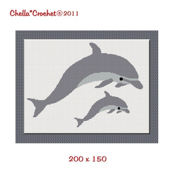 INSTANT DOWNLOAD Chella Crochet Dolphin Porpoise Mama Baby Afghan Crochet Pattern