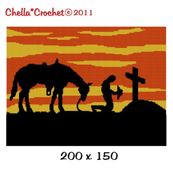INSTANT DOWNLOAD cross stitch Chella Crochet Cowboy Praying at Cross with Horse at SUNSET Silhouette Afghan Crochet Pattern