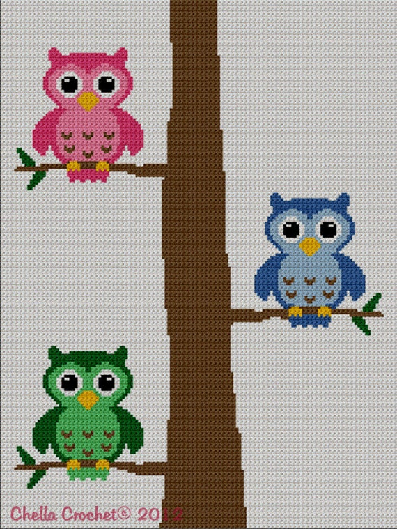 INSTANT DOWNLOAD Chella Crochet Colorful Owls in Tree Number 2 Afghan Crochet Knit Cross Stitch Pattern Graph