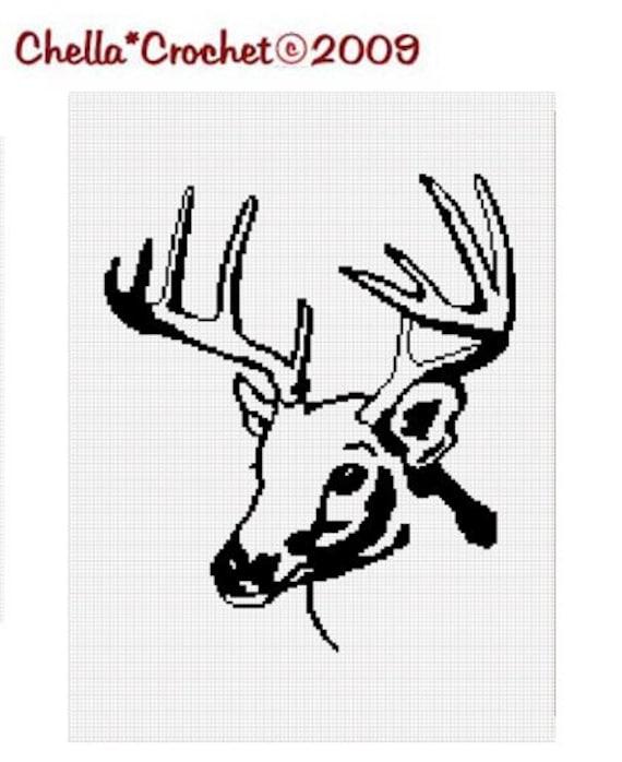 INSTANT DOWNLOAD  Chella Crochet Deer Buck Stag Antlers Head Silhouette  Afghan Crochet Pattern Graph Chart .PDF