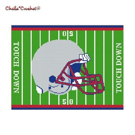 INSTANT DOWNLOAD Chella Crochet Pattern Football Helmet on Field Red Blue Pewter Gray Pattern Afghan Graph Chart. .PDF