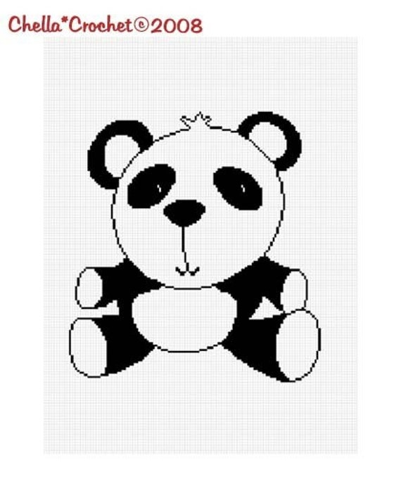 INSTANT DOWNLOAD Baby Panda Bear Afghan Crochet Pattern Graph