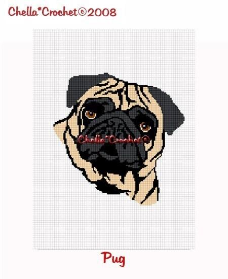 INSTANT DOWNLOAD Chella Crochet Pattern Pug Dog Afghan