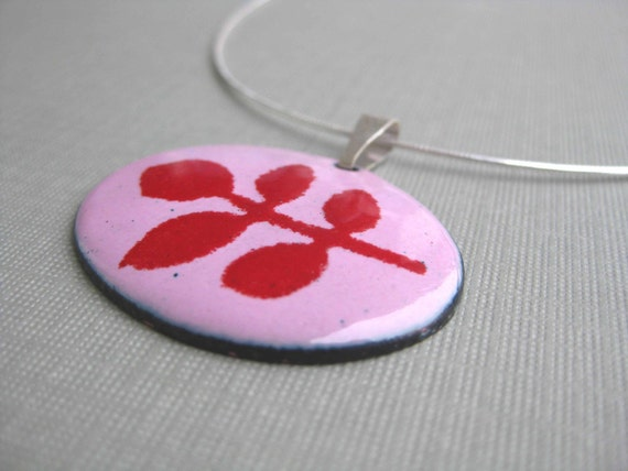 Fern Pendant- Pink/Red