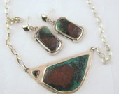Sonoran Sunrise and Sterling Silver Earrings and Necklace set