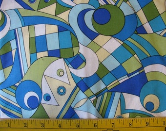 CLOSEOUT Blue 1 Yd Sew You Sew Fun RJR Fabric Cotton Quilting Retro oop