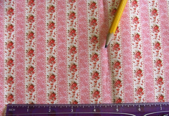 Dollhouse Miniature Victorian UPHOLSTERY / APPAREL FABRIC Shabby Chic Rose Damask Stripe 1:12