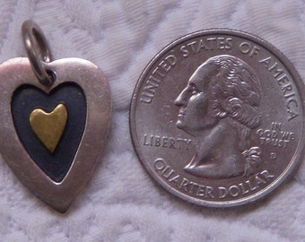 Sterling Silver and Brass FAR FETCHED Mixed Metal Heart Pendant