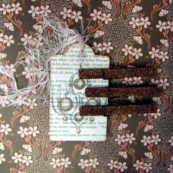 Decadent Brown Glittered Clothespin Magnets
