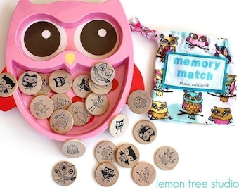 Wooden Matching Memory Game -- HOOT Edition