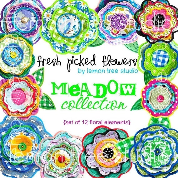 Digital Clip Art -- Fresh Picked Flowers -- Meadow Collection