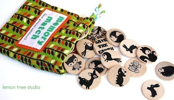 Wooden Matching Memory Game -- ECO FOREST Edition