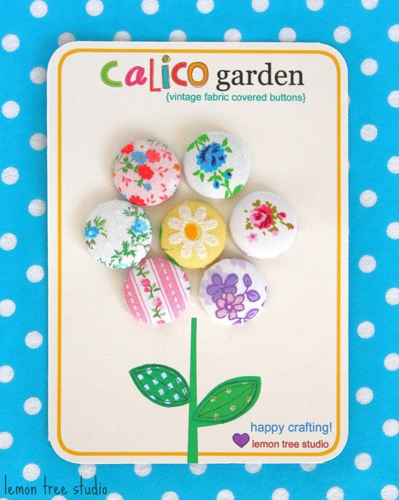 Calico Garden -- Set of Vintage Fabric Buttons (Romantic Collection)