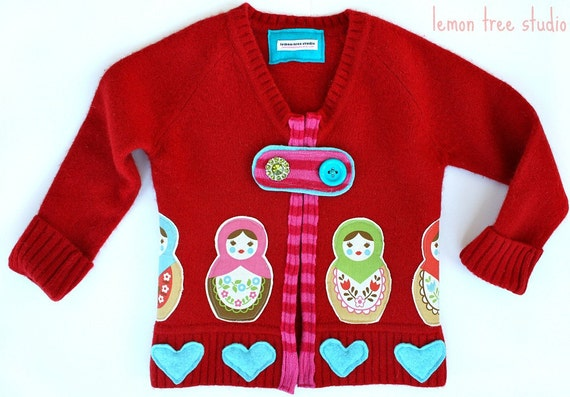 I Heart Dolls Sweater Cardigan -- Whimsical Wools Collection