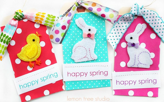 LAST SET -- Happy Spring -- Trio of Gift Tags
