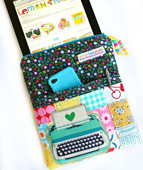 Patchwork Happiness -- Zippered iPad Case -- Only one Made (free U.S. shipping)