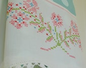 Tea Towel Pink Posies -- Spring has Sprung -  Vintage Recycled to Upcycled